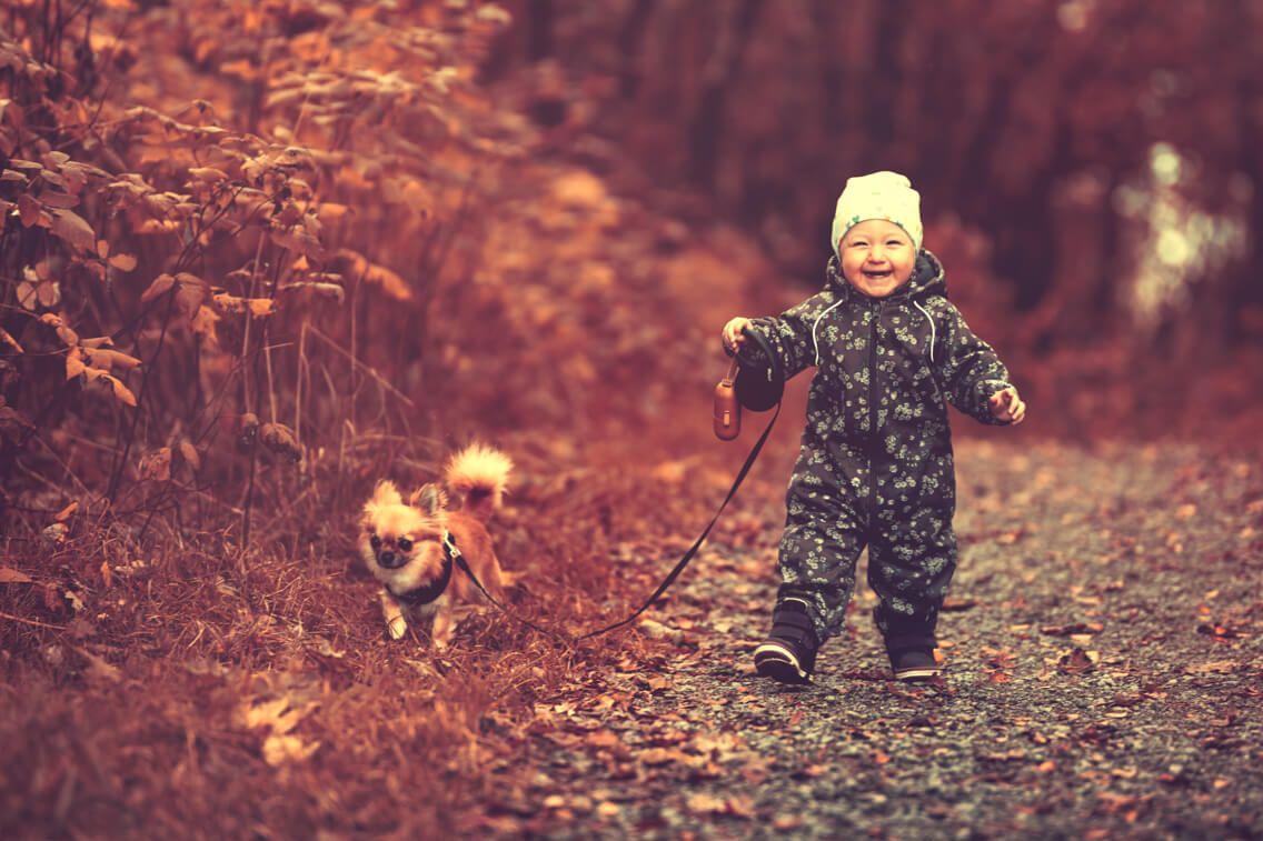 Livsstil og barnefotograf - barn går tur med hund